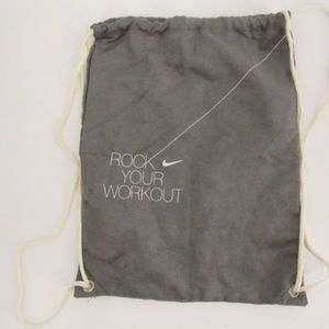 Nike Rock Your Workout Faux Gray Suede String Bag